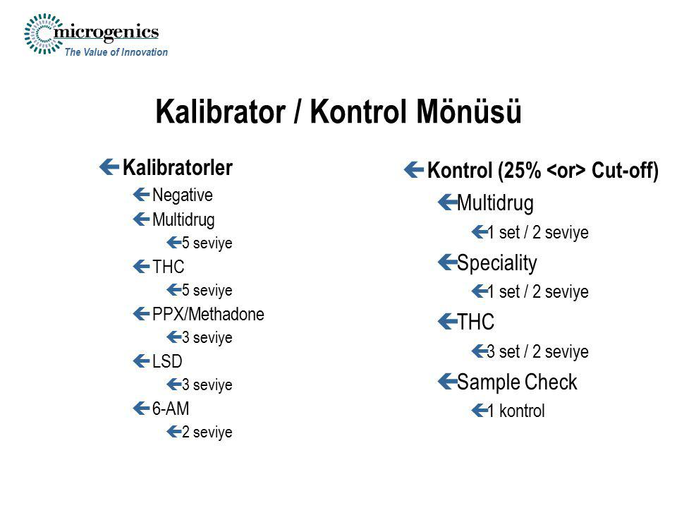 Kalibrator / Kontrol Mönüsü