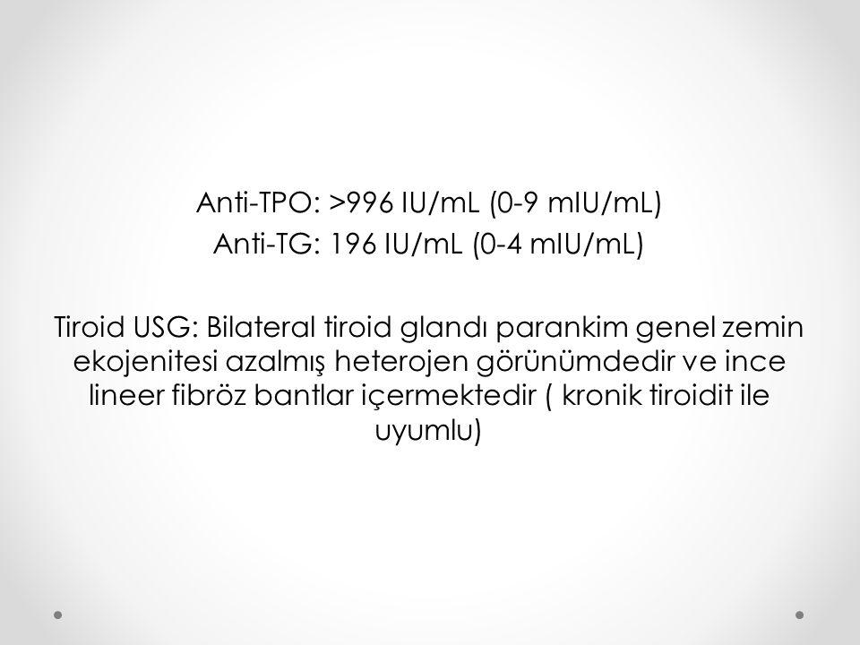 Anti-TPO: >996 IU/mL (0-9 mIU/mL) Anti-TG: 196 IU/mL (0-4 mIU/mL) Tiroid USG: Bilateral tiroid glandı parankim genel zemin ekojenitesi azalmış heterojen görünümdedir ve ince lineer fibröz bantlar içermektedir ( kronik tiroidit ile uyumlu)