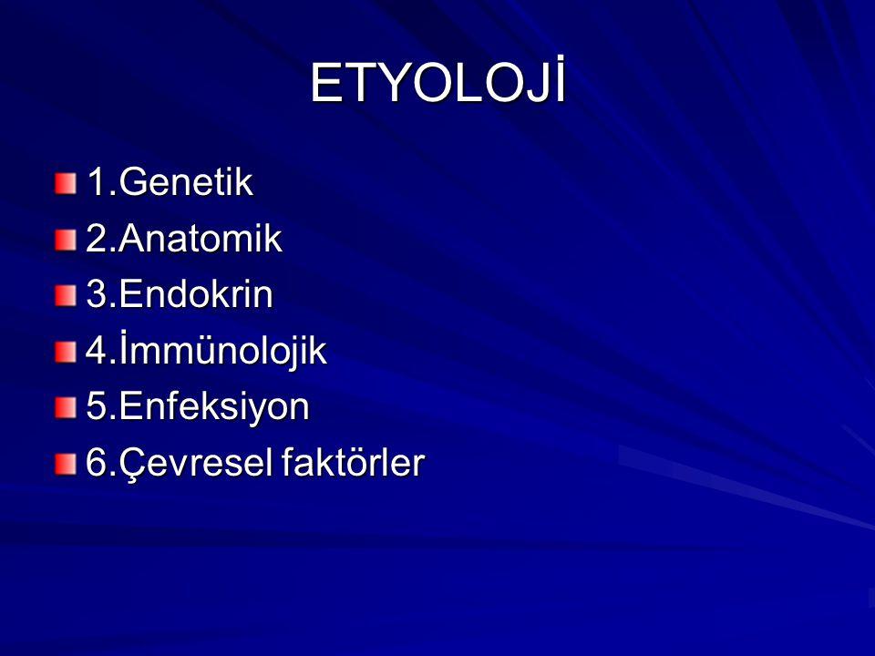 ETYOLOJİ 1.Genetik 2.Anatomik 3.Endokrin 4.İmmünolojik 5.Enfeksiyon