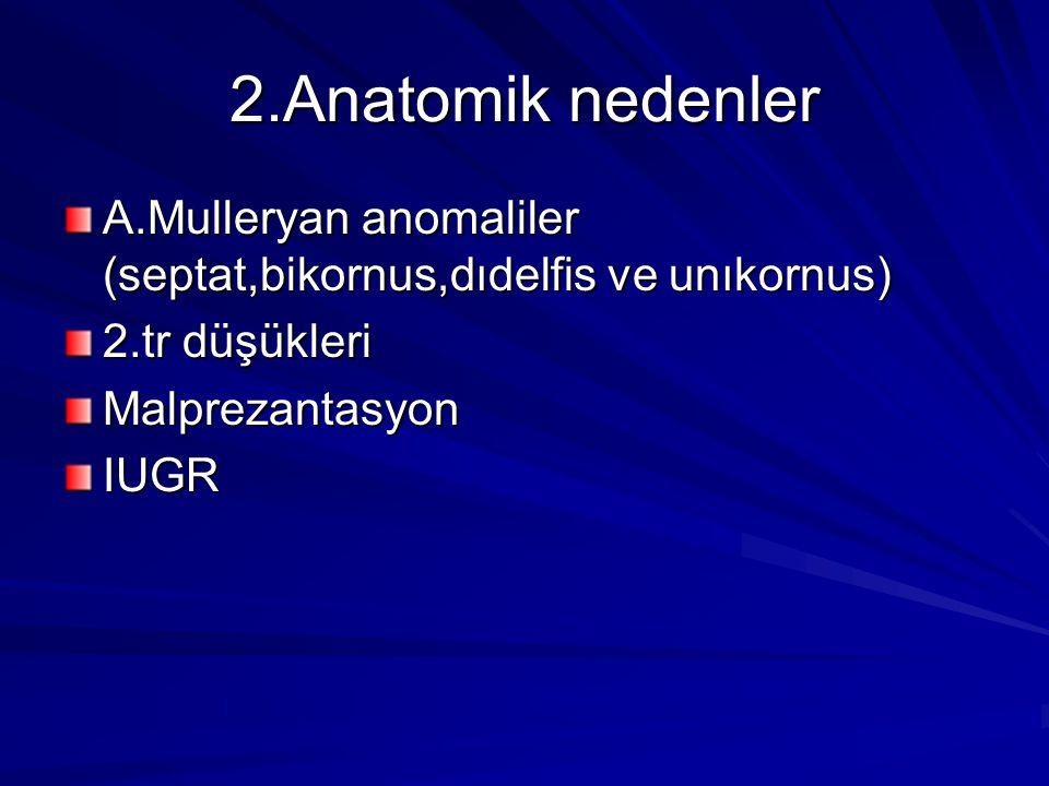 2.Anatomik nedenler A.Mulleryan anomaliler (septat,bikornus,dıdelfis ve unıkornus) 2.tr düşükleri.