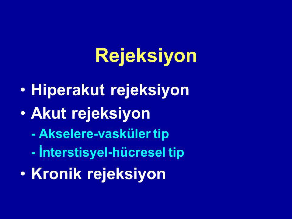 Rejeksiyon Hiperakut rejeksiyon Akut rejeksiyon Kronik rejeksiyon