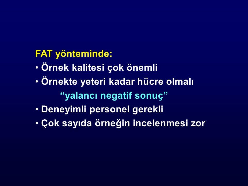 FAT yönteminde: Örnek kalitesi çok önemli. Örnekte yeteri kadar hücre olmalı. yalancı negatif sonuç