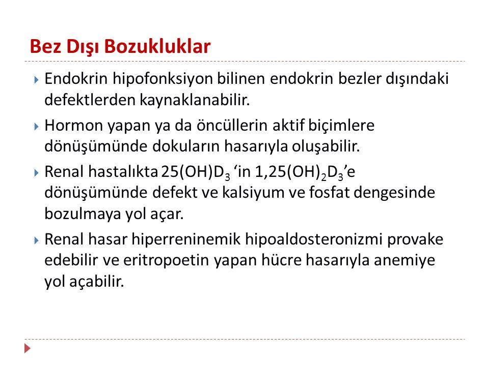 Bez Dışı Bozukluklar Endokrin hipofonksiyon bilinen endokrin bezler dışındaki defektlerden kaynaklanabilir.