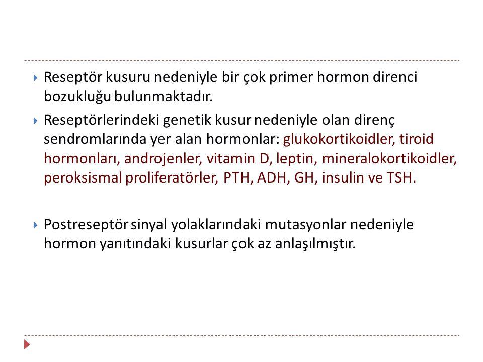 Reseptör kusuru nedeniyle bir çok primer hormon direnci bozukluğu bulunmaktadır.