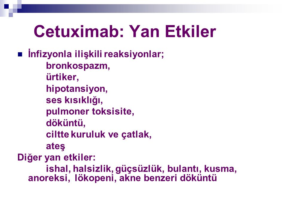 Cetuximab: Yan Etkiler