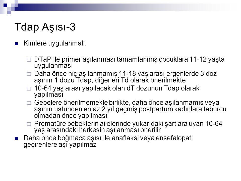 Tdap Aşısı-3 Kimlere uygulanmalı: