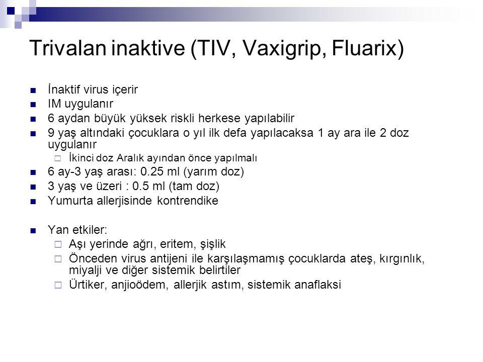 Trivalan inaktive (TIV, Vaxigrip, Fluarix)