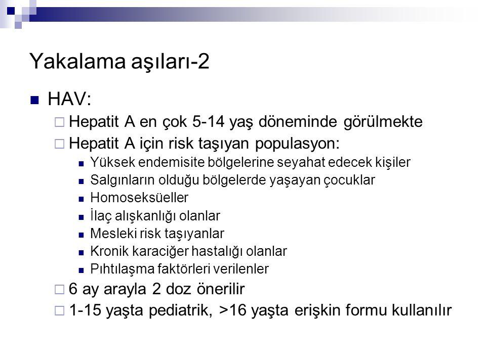 Yakalama aşıları-2 HAV: Hepatit A en çok 5-14 yaş döneminde görülmekte