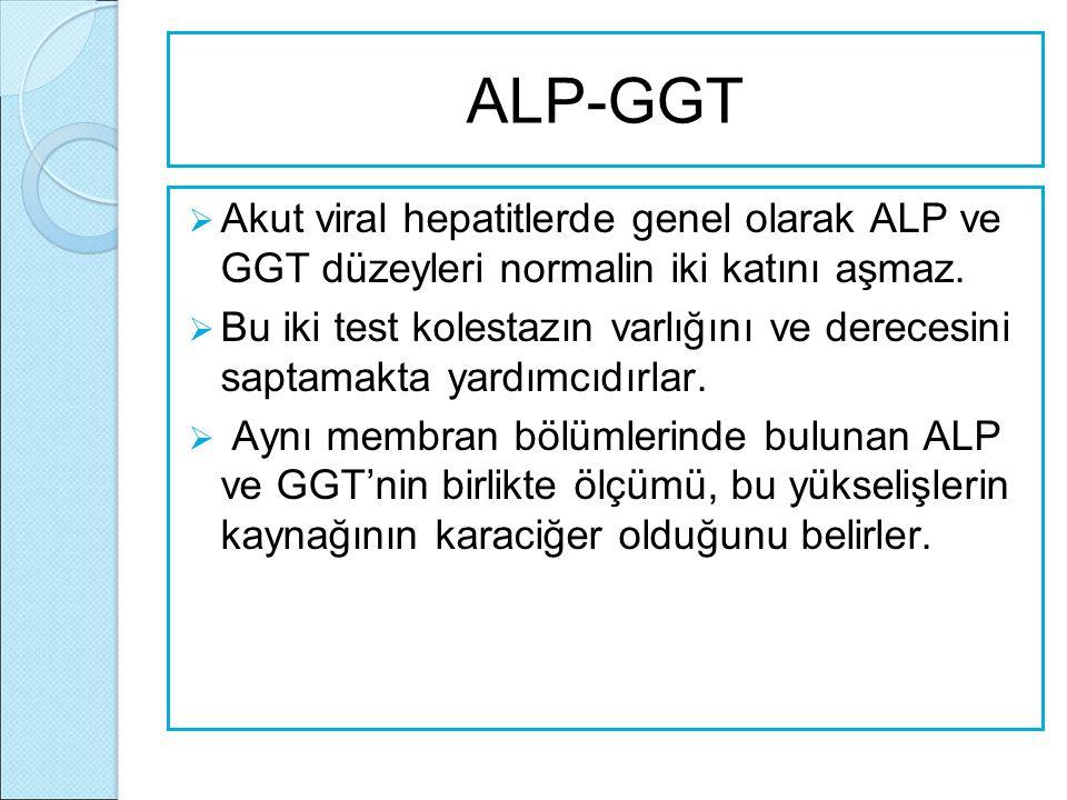 ALP-GGT Akut viral hepatitlerde genel olarak ALP ve GGT düzeyleri normalin iki katını aşmaz.