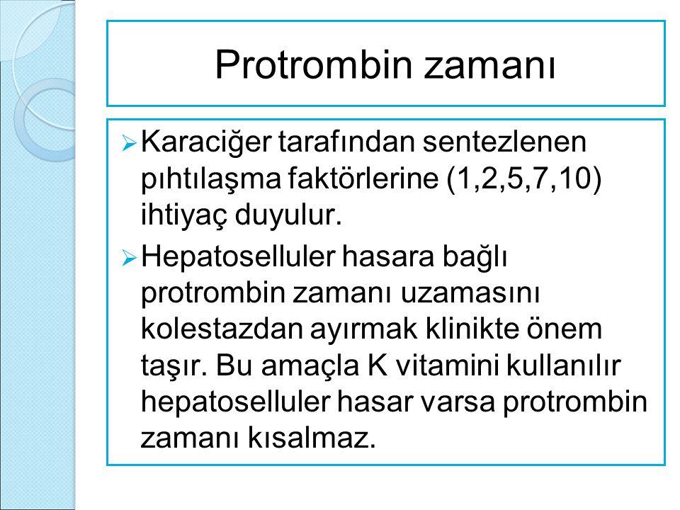 Protrombin zamanı Karaciğer tarafından sentezlenen pıhtılaşma faktörlerine (1,2,5,7,10) ihtiyaç duyulur.
