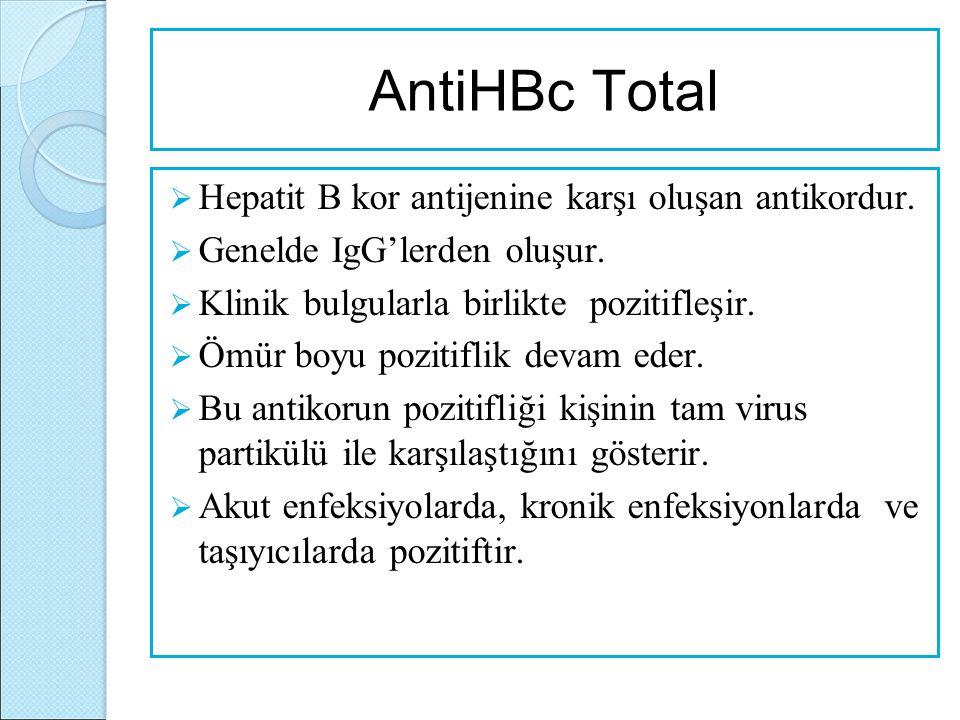 AntiHBc Total Hepatit B kor antijenine karşı oluşan antikordur.