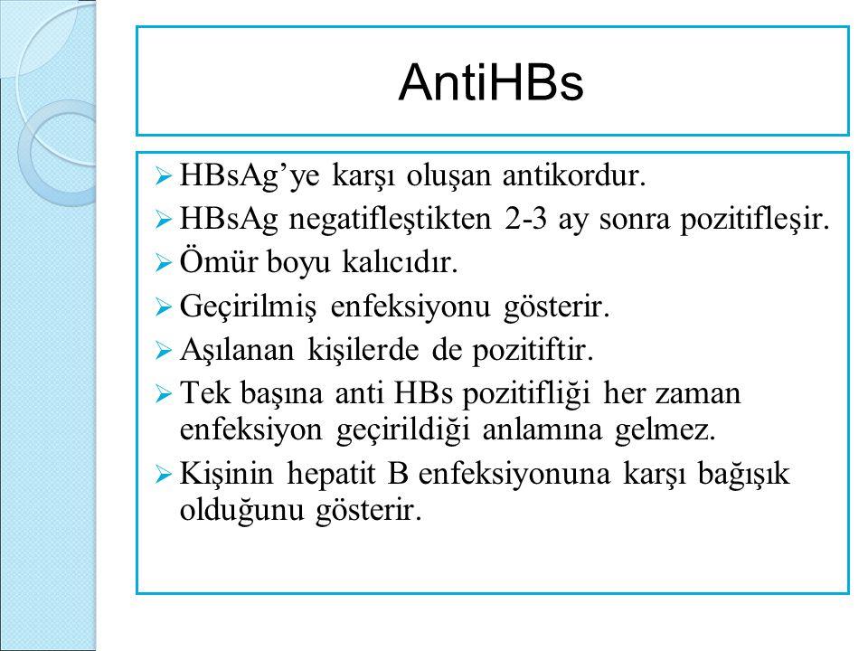 AntiHBs HBsAg'ye karşı oluşan antikordur.
