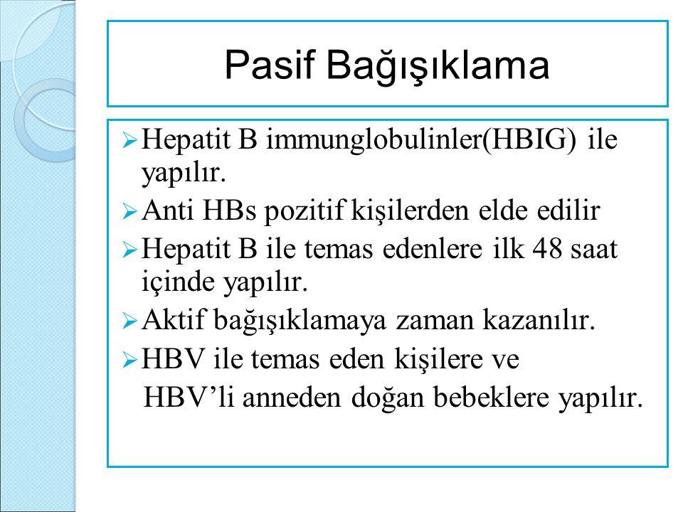 Pasif Bağışıklama Hepatit B immunglobulinler(HBIG) ile yapılır.