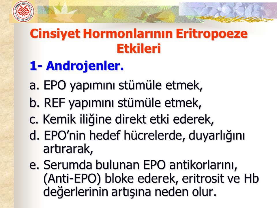 Cinsiyet Hormonlarının Eritropoeze Etkileri