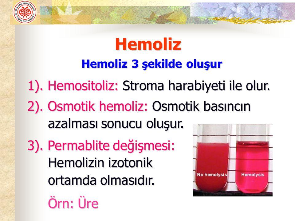 Hemoliz 3 şekilde oluşur