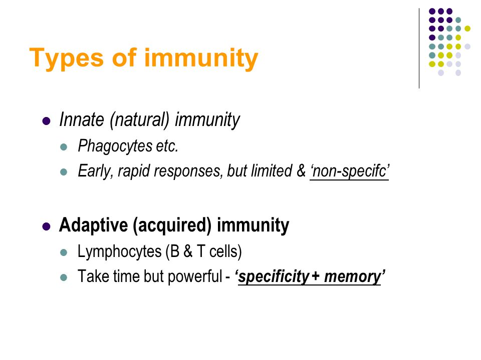 Types of immunity Innate (natural) immunity