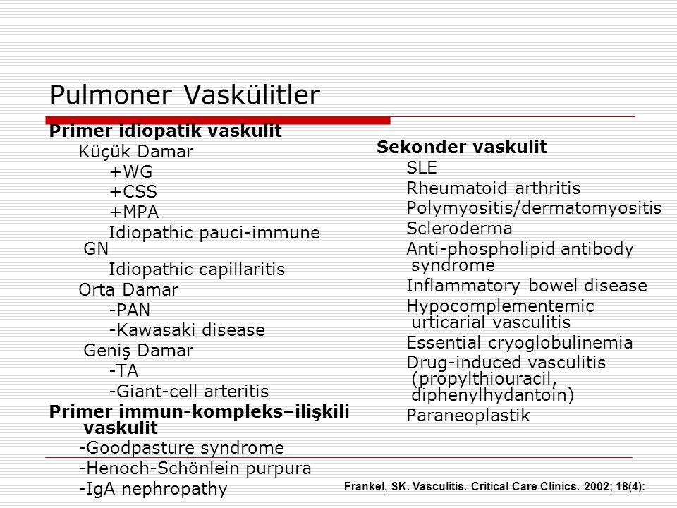 Pulmoner Vaskülitler Primer idiopatik vaskulit Küçük Damar +WG