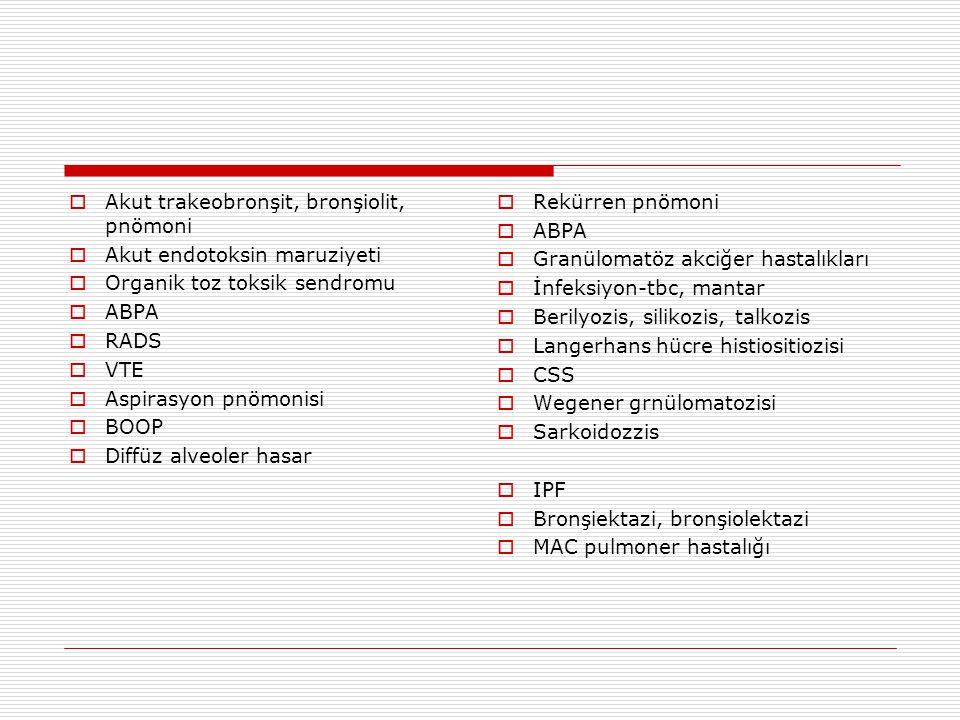 Akut trakeobronşit, bronşiolit, pnömoni