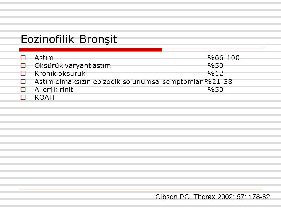 Eozinofilik Bronşit Gibson PG. Thorax 2002; 57: 178-82 Astım %66-100