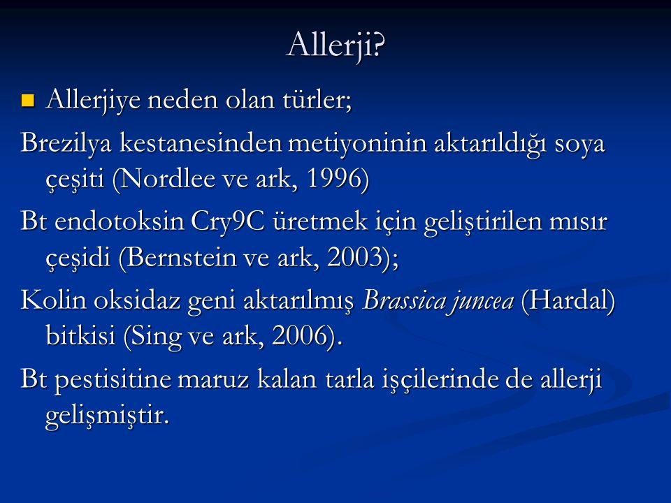 Allerji Allerjiye neden olan türler;