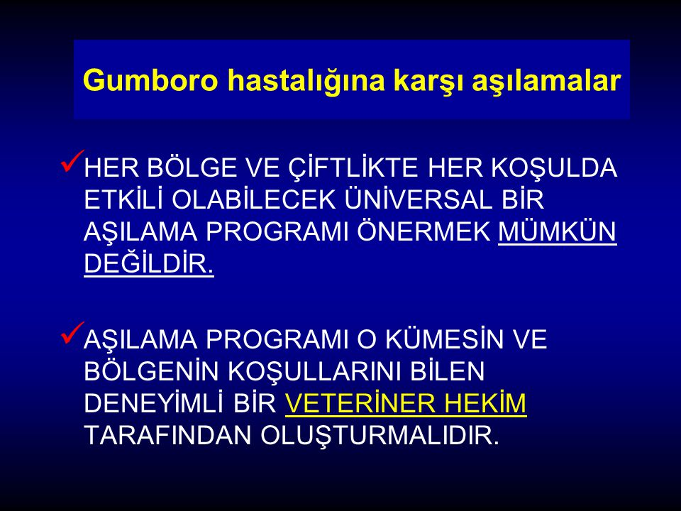 Gumboro hastalığına karşı aşılamalar