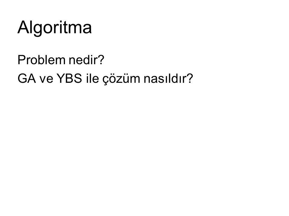 Algoritma Problem nedir GA ve YBS ile çözüm nasıldır