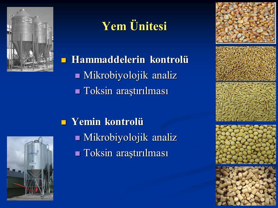 Yem Ünitesi Hammaddelerin kontrolü Mikrobiyolojik analiz