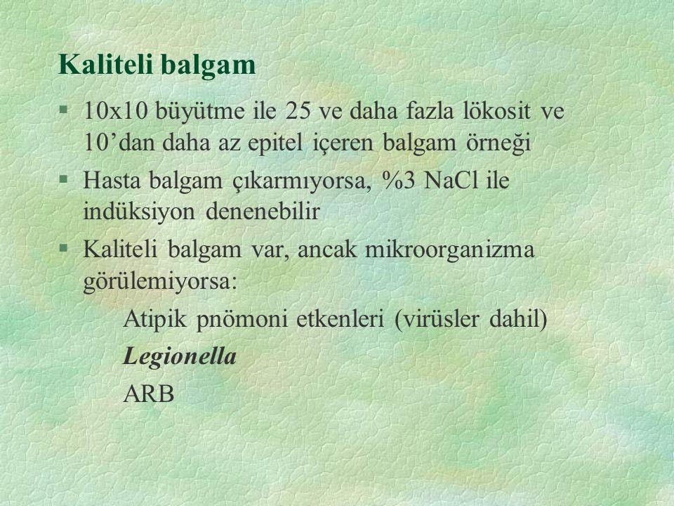 Kaliteli balgam 10x10 büyütme ile 25 ve daha fazla lökosit ve 10'dan daha az epitel içeren balgam örneği.