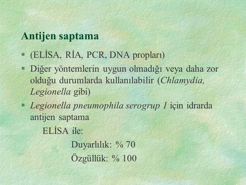 Antijen saptama (ELİSA, RİA, PCR, DNA propları)