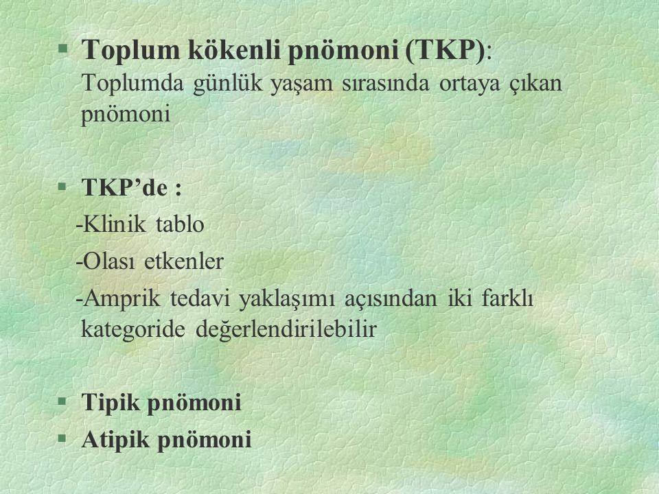Toplum kökenli pnömoni (TKP): Toplumda günlük yaşam sırasında ortaya çıkan pnömoni