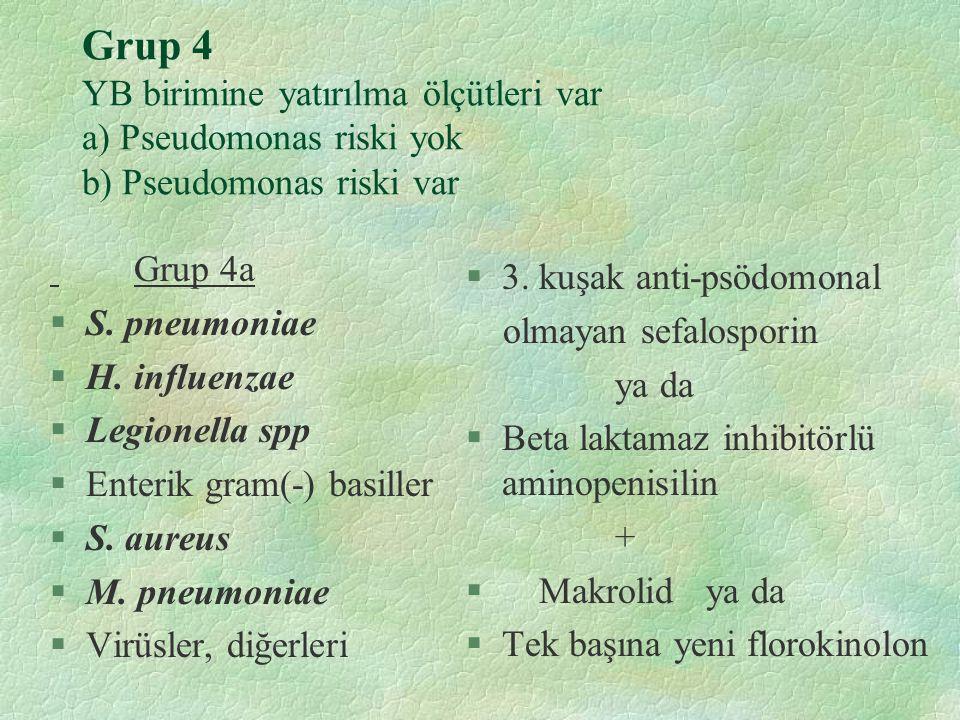 Grup 4 YB birimine yatırılma ölçütleri var a) Pseudomonas riski yok b) Pseudomonas riski var