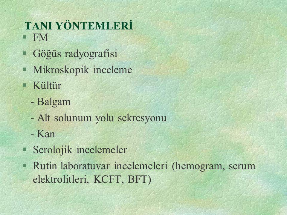 TANI YÖNTEMLERİ FM. Göğüs radyografisi. Mikroskopik inceleme. Kültür. - Balgam. - Alt solunum yolu sekresyonu.