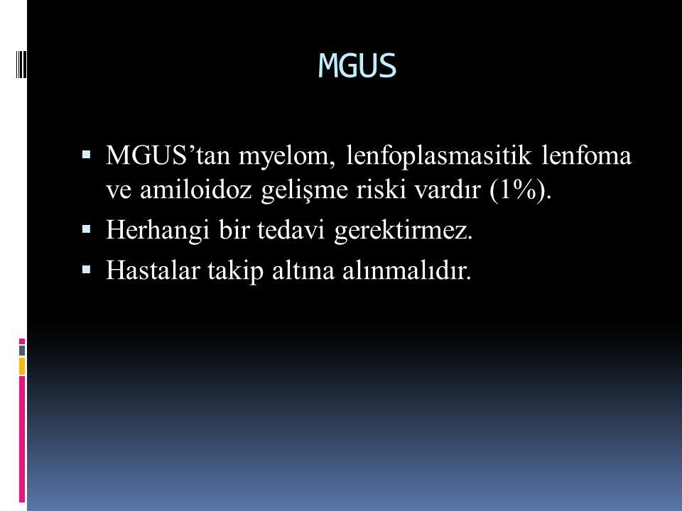 MGUS MGUS'tan myelom, lenfoplasmasitik lenfoma ve amiloidoz gelişme riski vardır (1%). Herhangi bir tedavi gerektirmez.