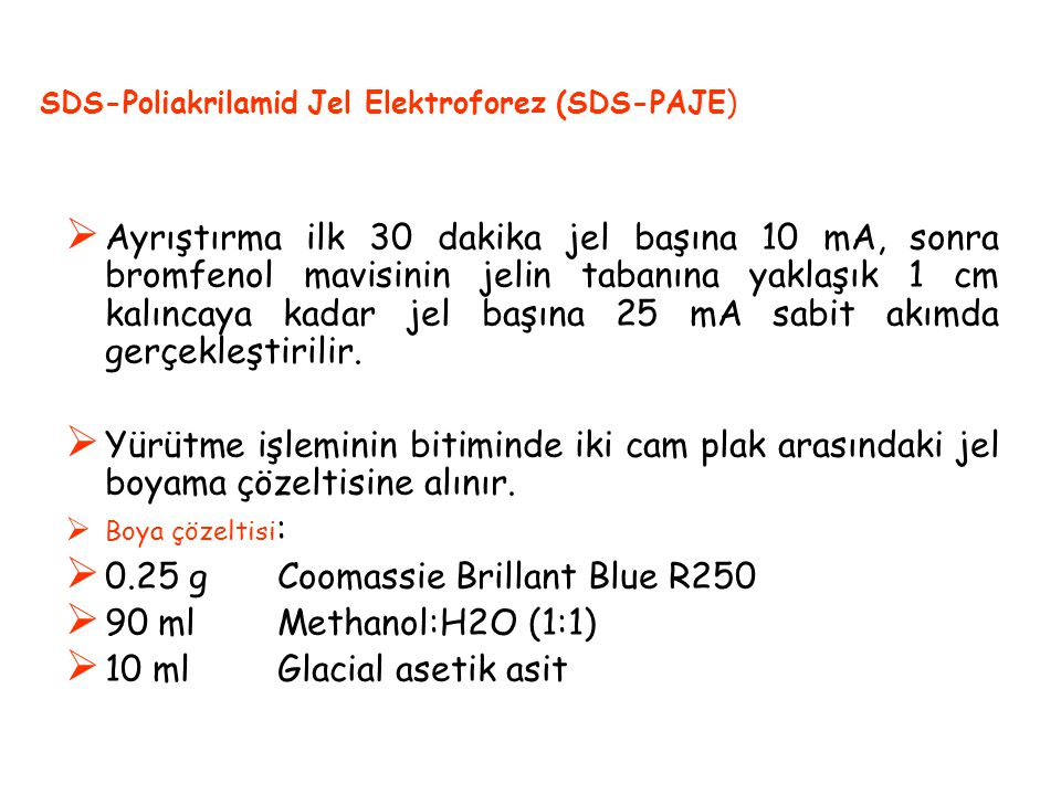 0.25 g Coomassie Brillant Blue R250 90 ml Methanol:H2O (1:1)