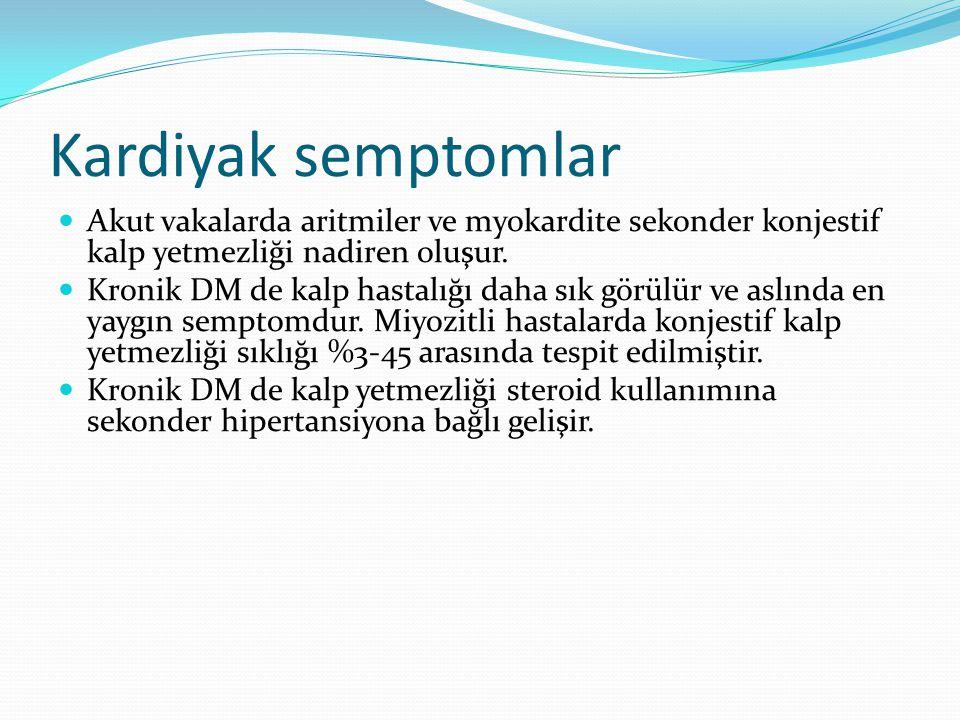 Kardiyak semptomlar Akut vakalarda aritmiler ve myokardite sekonder konjestif kalp yetmezliği nadiren oluşur.