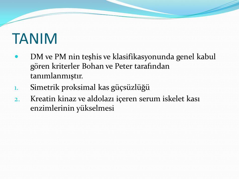TANIM DM ve PM nin teşhis ve klasifikasyonunda genel kabul gören kriterler Bohan ve Peter tarafından tanımlanmıştır.