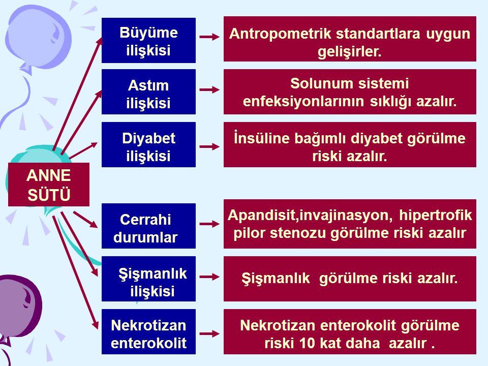 ANNE SÜTÜ Büyüme ilişkisi Antropometrik standartlara uygun gelişirler.