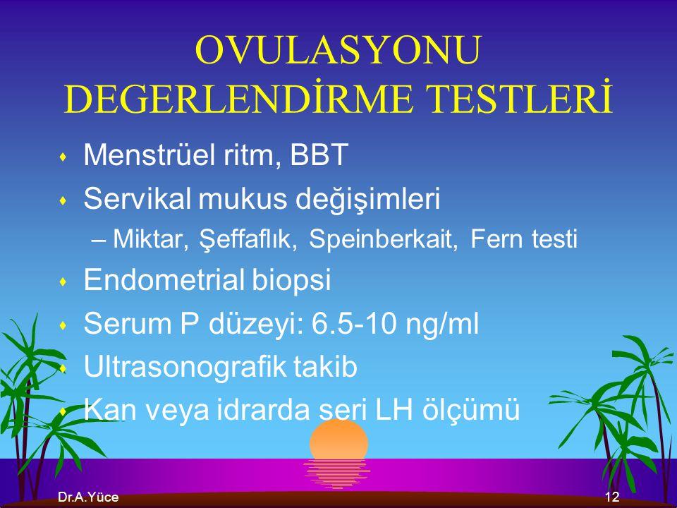 OVULASYONU DEGERLENDİRME TESTLERİ