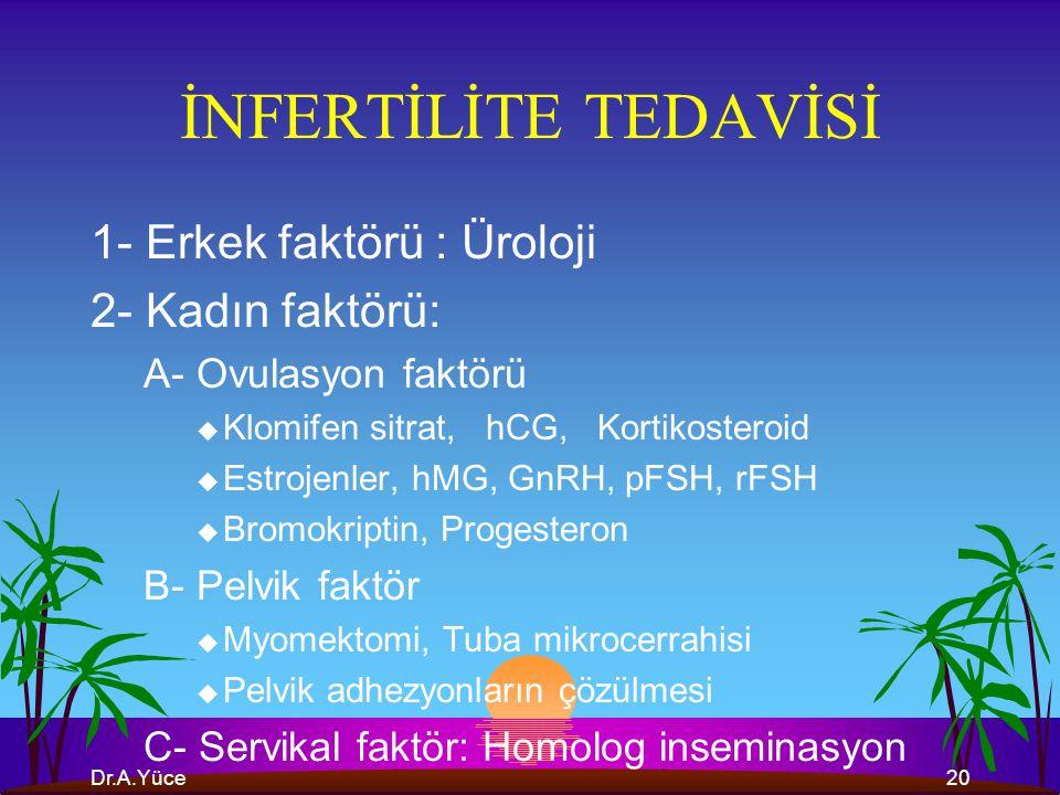 İNFERTİLİTE TEDAVİSİ 1- Erkek faktörü : Üroloji 2- Kadın faktörü: