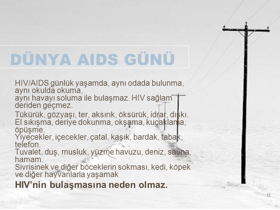 DÜNYA AIDS GÜNÜ HIV'nin bulaşmasına neden olmaz.