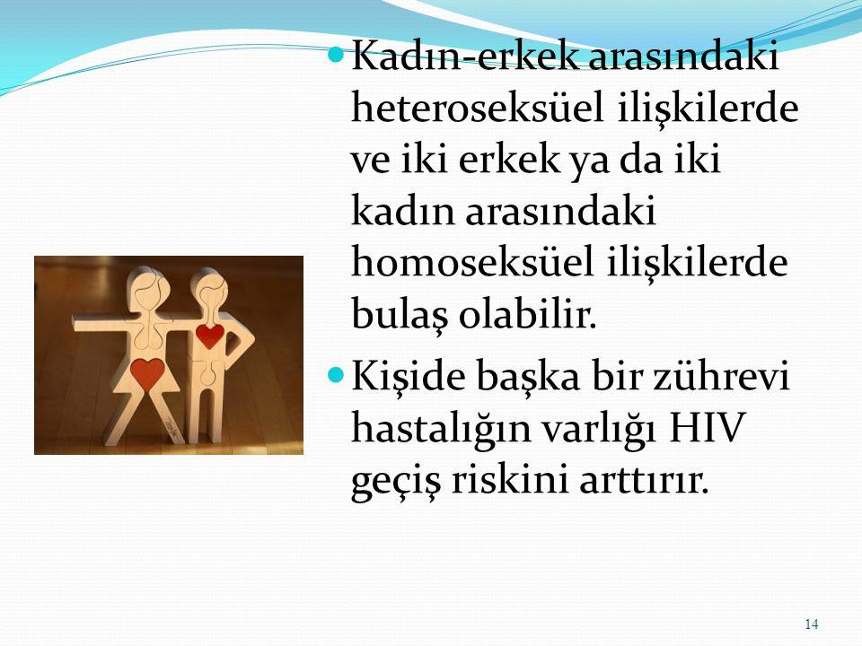 Kadın-erkek arasındaki heteroseksüel ilişkilerde ve iki erkek ya da iki kadın arasındaki homoseksüel ilişkilerde bulaş olabilir.