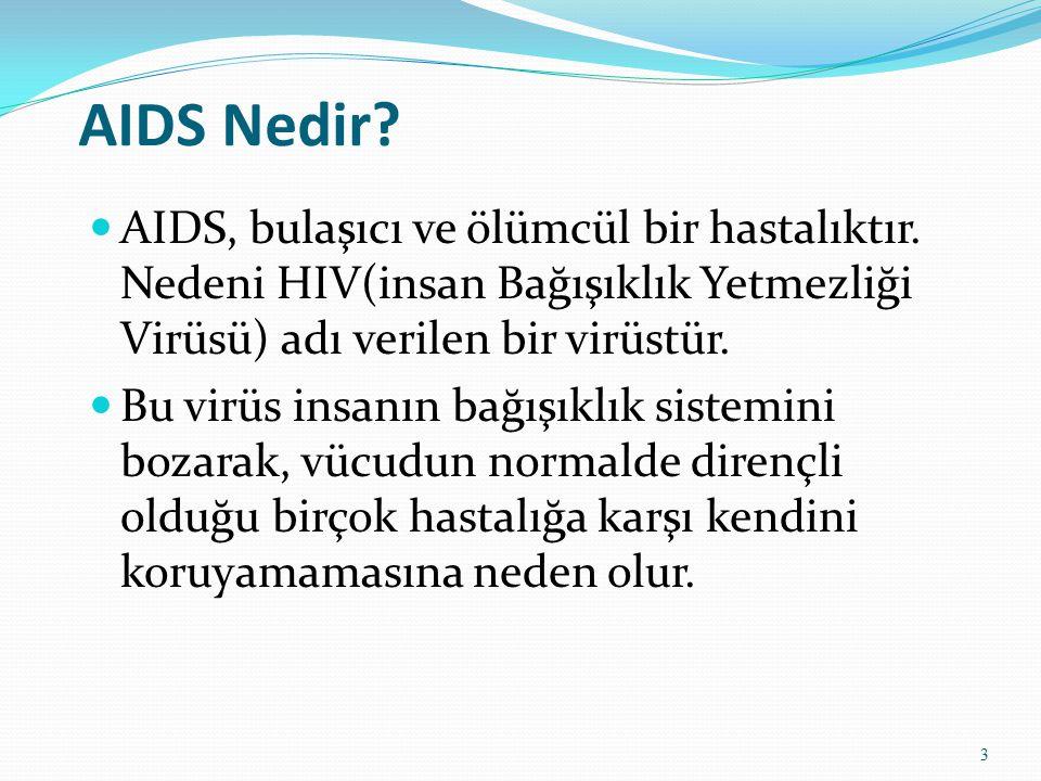 AIDS Nedir AIDS, bulaşıcı ve ölümcül bir hastalıktır. Nedeni HIV(insan Bağışıklık Yetmezliği Virüsü) adı verilen bir virüstür.