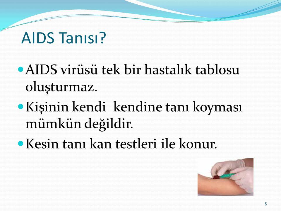 AIDS Tanısı AIDS virüsü tek bir hastalık tablosu oluşturmaz.