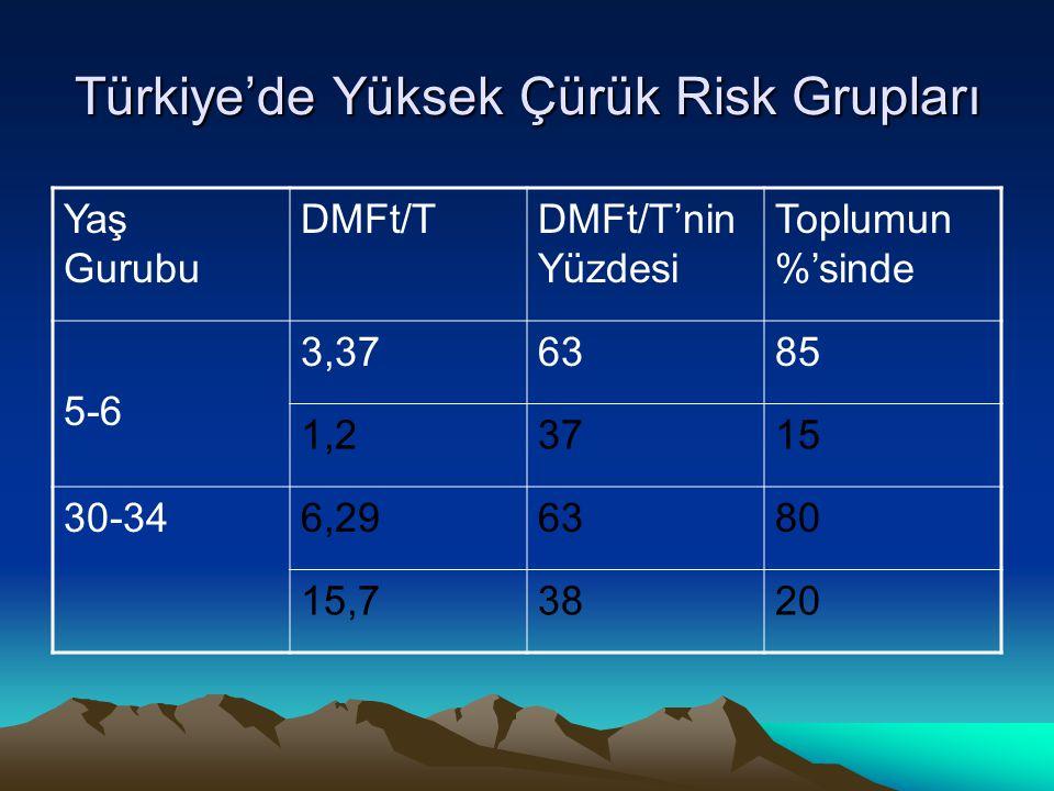 Türkiye'de Yüksek Çürük Risk Grupları