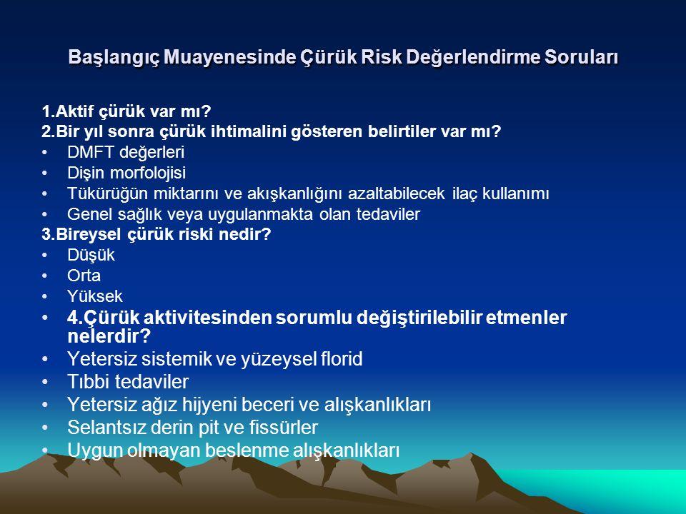 Başlangıç Muayenesinde Çürük Risk Değerlendirme Soruları