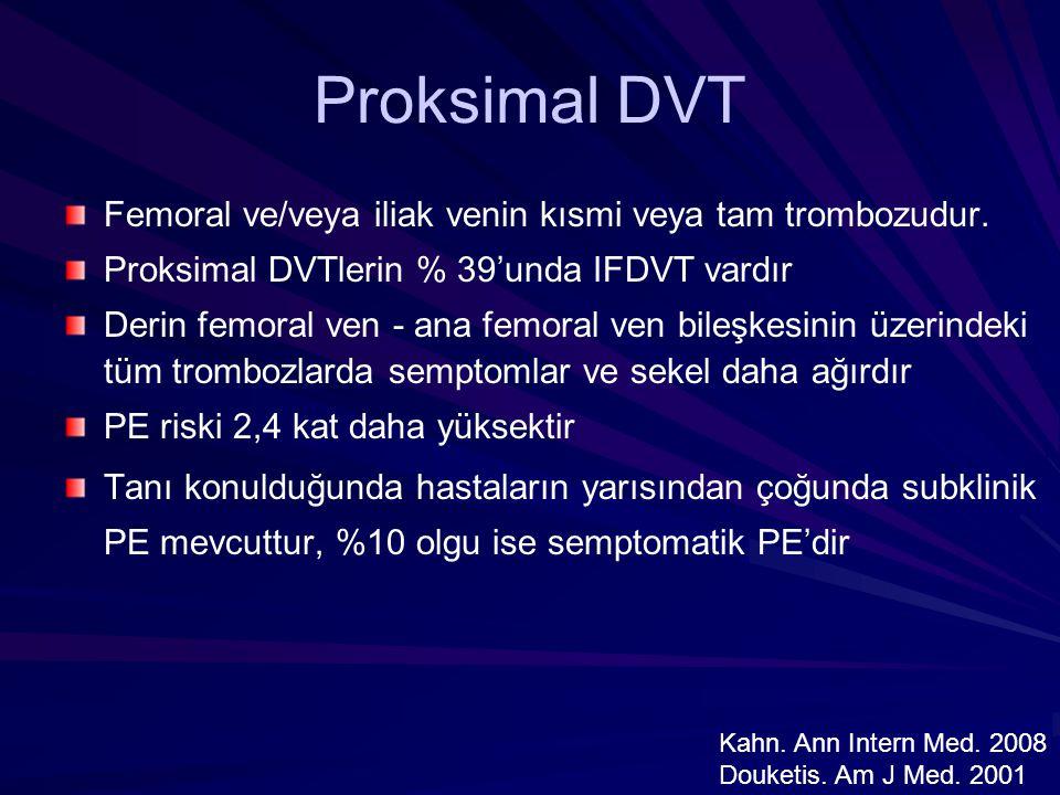 Proksimal DVT Femoral ve/veya iliak venin kısmi veya tam trombozudur.