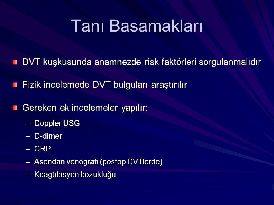 Tanı Basamakları DVT kuşkusunda anamnezde risk faktörleri sorgulanmalıdır. Fizik incelemede DVT bulguları araştırılır.