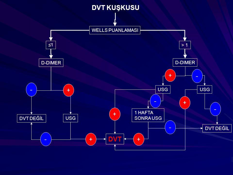 DVT KUŞKUSU - - - - - - DVT + + + + + + WELLS PUANLAMASI ≤1 > 1