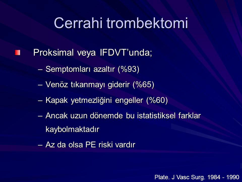 Cerrahi trombektomi Proksimal veya IFDVT'unda;