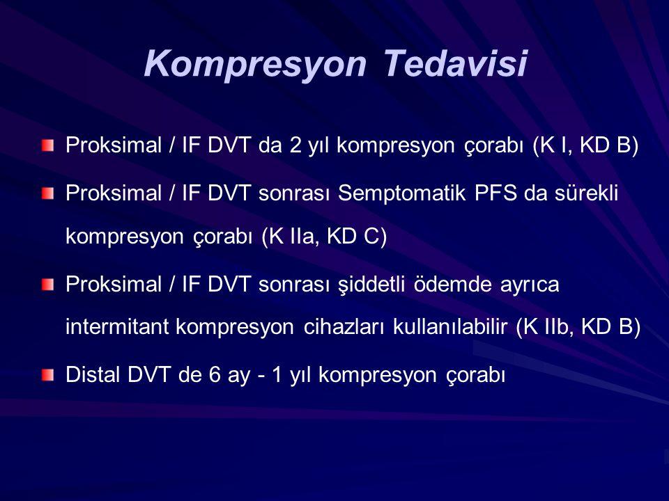 Kompresyon Tedavisi Proksimal / IF DVT da 2 yıl kompresyon çorabı (K I, KD B)